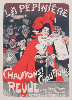 La Pepiniere Chauffons! Chauffons! Revue Maitre De L Affiche Plate 159 by Jules-Alexandre Grun 1899- Beautiful Vintage Poster. This lithograph shows a couple formally dressed with a crowd behind them laughing. Original Vintage Poster.