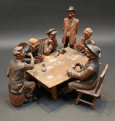 """""""Poker Players"""" circa 1934 carved by Emil Janel"""