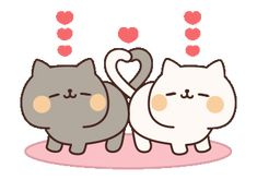 LINE Official Stickers - Full of Cats Animated Stickers 2 Example with GIF Animation Cute Love Gif, Cute Love Memes, Cute Cat Gif, Cute Kawaii Drawings, Kawaii Art, Cartoon Pics, Cute Cartoon, Hug Gif, Chibi Cat