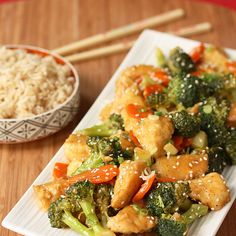 Slow-Cooker General Tso's Chicken...loved the sauce. Use fresh veg. And prepare stove top, like stir fry...crock pot make it mush.