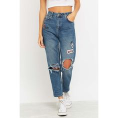BDG Ripped Blue Mom Jeans ($78) ❤ liked on Polyvore featuring jeans, vintage jeans, bdg jeans, high rise jeans, high waisted ripped jeans and destroyed jeans