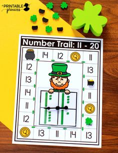 Practical activities of St. Patrick 's day for kindergarten The printable princess – Find Your St Patrick's Day Activities Kindergarten Centers, Kindergarten Classroom, Math Centers, Classroom Ideas, St Patrick Day Activities, Counting Activities, Hands On Activities, Early Finishers Activities, Teen Numbers