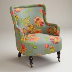 Vintage Floral Gray Reading Chair