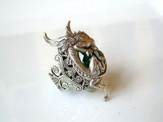 Silver Dragon Ring - Emerald Swarovski Gothic Ring - Women Fantasy Gothic Jewelry