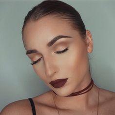 shimmery gold soft brown smokey eye makeup, burgundy lips