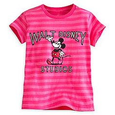 Mickey Mouse Tee for Girls - Walt Disney Studios | Disney Store Mickey takes the spotlight in this sweet striped tee with vivid Walt Disney Studios logo. Direct from our historic movie lot in Burbank, CA, this stylish top will let your cutie shine like a star of the silver screen.