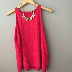 Pink summer top NWT pink top with really feminine floral detail in pattern. The back is illusion open! Fully lined and looks great with a statement necklace. Size medium. Measurements are 20 inches underarm to underarm and length is 26 inches. Tops Tank Tops