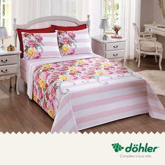 Flores e mais flores para usar em qualquer estação do ano!  Este jogo de lençol para cama tem um acabamento que proporciona toque macio e estampas em alto brilho, deixando seu quarto ainda mais agradável.