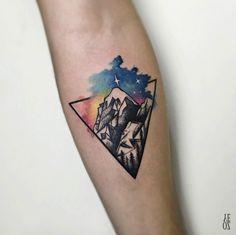 Watercolor mountain design by Yeliz Ozcan