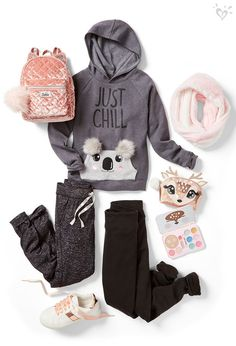 Cuddly critters give this outfit the so-chill vibe she'll adore.