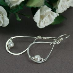 Small Sterling Silver Teardrop Bridal Earrings with Ivory Freshwater Pearls