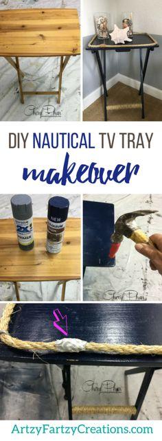 DIY Nautical TV Tray Makeover   Coastal Decor + DIY Projects by Cheryl Phan
