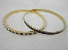 Vintage Signed Napier Black Enamel Bangle Black Clear Rhinestone Bangle