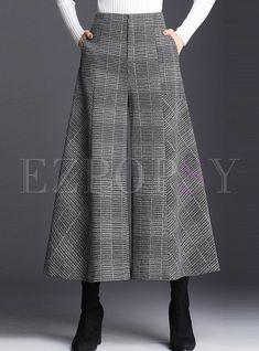 Shop Casual High Waist Plaid Hairy Wide-leg Pants at EZPOPSY. Discover fashion online.