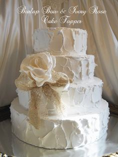 Burlap Bow & Ivory Rose Cake Topper Flower, handmade of burlap, lace and ivory silk. Ready to Ship!