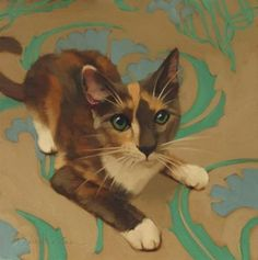 "Daily Paintworks - ""Harlequin painting of a diluted Calico"" - Original Fine Art for Sale - © Diane Hoeptner"