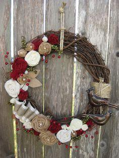 Christmas Wreath, Winter Wreath, Holiday Wreath, Wreath. $52.00, via Etsy.