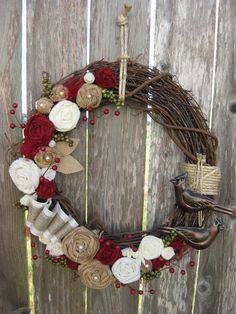Christmas Wreath, Winter Wreath, Holiday Wreath, Wreath. $52.00, via Etsy.