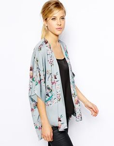 Enlarge Oasis Bird Print Kimono: Would like a pretty kimono like this in my wardrobe.