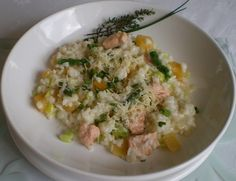 trout, leek and asparagus risotto