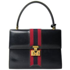 Preowned Classic 1960s Gucci Logo Navy Blue Kelly Handbag ($850) ❤ liked on Polyvore featuring bags, handbags, blue, top handle bags, striped purse, top handle handbags, blue handbags and navy blue handbags