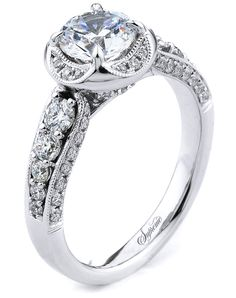 18k White Gold Engagement Ring with U-shaped halo | Supreme SJ154266 | http://trib.al/43MErGc