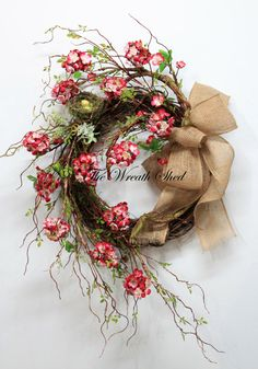 Unique Cherry Blossoms, Country Spring Wreath, Summer Wreath, Front Door Wreath, Country Wreaths, Unique Spring Decor, Wreath for Front Door