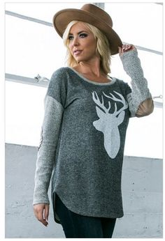 Oh Deer Charcoal Grey French Terry with Suede Elbow Patches Top