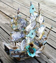 Smooth Sailing with this altered boat by Miranda using new IOD moulds and French Riviera papers!