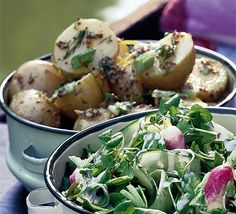 """Mustard Potato Salad ""- Ingredients: 1½kg new potatoes ,halved if large 3 tbsp olive oil 1 tbsp wholegrain mustard juice of 1 lemon 3 spring onions,chopped Method:   1.Cook the potatoes in a large pan of salted water until just tender,about 10-15 mins.Meanwhile whisk together the olive oil,mustard and lemon juice in a large bowl.Drain the potatoes and leave to cool for 5 mins,then tip into the bowl along with the spring onions. Toss everything until the potatoes are well coated.Leave to cool"
