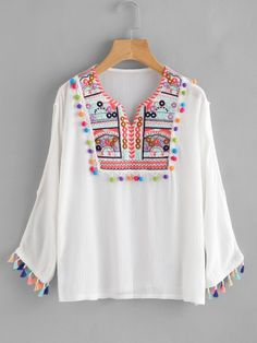 Tassel Pom Pom Trim Slit Sleeve Embroidery Blouse Simple Kurti Designs, Kurti Neck Designs, Kurta Designs Women, Blouse Designs, Kurti Embroidery Design, Embroidery Fashion, Girls Fashion Clothes, Girl Outfits, Fashion Outfits