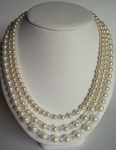 Pearl and crystal triple strand necklace wedding by starrydreams, $75.00