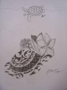 Turtle Hibiscus Tattoo | Tribal Turtle Tattoos on Honu Turtle Tribal Tattoo Flash Tattoo