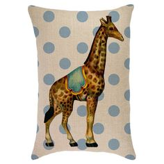 Bring a pop of whimsical style to your sofa or favorite reading nook with this charming burlap pillow, featuring a circus giraffe detail against a blue polka...