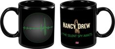 Nancy Drew: The Silent Spy black mug, available in the Her Interactive merchandise store. $16.99