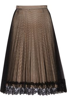 Christopher Kane Lace-trimmed pleated tulle skirt | THE OUTNET