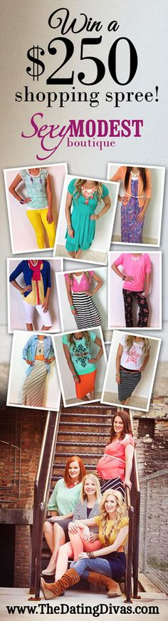 Win a $250 Shopping Spree from SexyModest Boutique! Or just use the coupon code for 10% off.  LOVE their clothes!  Cute, trendy, modest, AND affordable!  www.TheDatingDivas.com #giveaway #clothing #accessories