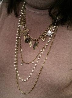 Bronze Halskette 4-reihig Shabby Vintage CK129 von Schmuckbaron