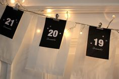 Cool to hang the gifts up on a string of lights. Christmas Countdown, Merry Christmas, Xmas Crafts, Diy Crafts, Advent Calander, Thinking Outside The Box, Favorite Holiday, String Lights, Diy For Kids