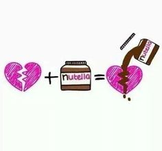 Image via We Heart It https://weheartit.com/entry/161084143 #brokenheart #chocolate #food #heart #love #nutella #pink