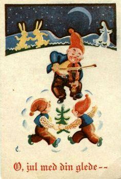 Julekort Christoffersen. Nisser. Utg Green forlag . Stemplet 1946.