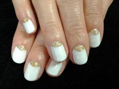 "Greek Goddess manicure! Featuring Gelish ""Sheek White."""