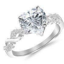 0.67 Carat Twisting Infinity 14K White Gold and Diamond Split Shank Pave Set Heart Shape Diamond Engagement Ring (E Color SI1 Clarity)