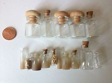Mixed job lot dollhouse jars glass bottles, spices, potions 1/12th scale witch Witch House, House Accessories, Dollhouse Ideas, Barbie House, Glass Bottles, Apothecary, Dollhouses, Jars, Spices