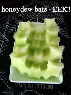 It is much easier than you think, simply use bat cookie cutter on a honeydew melon