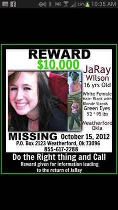 Okay so, there may not be that many helpful details of JaRay Wilson. But still do what you can to find this girl. Missing Loved Ones, Missing Child, Missing Persons, People In Need, We The People, Free Background Check, America's Most Wanted, Amber Alert, Bring Them Home