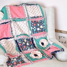 Boho Floral Crib Bedding for Baby Girl Nursery - Gold / Coral / Mint / Navy - Crib Bedding - A Vision to Remember #babygirlnursery #shabbychicnursery #floralnursery #cribbedding