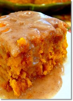 Pumpkin Cake with Apple Cider Glaze…..super easy yellow cake mix and can of pumpkin, glaze is 3 ingredients