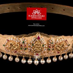 Buy Vaddanam Online | Classic CZ Pachiwork Belt with Pearl Drops - 40 inches from Kameswari Jewellers Real Gold Jewelry, Gold Jewelry Simple, Gold Jewellery Design, Trendy Jewelry, Little Girl Jewelry, Girls Jewelry, Bridal Jewelry, Mughal Jewelry, Temple Jewellery