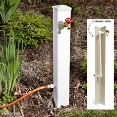 Hose Connection Extender - If you have a hose bib that has become hard to reach due to encroaching shrubs or other obstructions, here's a way to bring the water source out into the open. Run plastic pipe inside a PVC fence post and attach a hose bib and a Outdoor Projects, Garden Projects, Pvc Projects, Lawn And Garden, Home And Garden, Terrace Garden, Garden Shrubs, Garden Posts, Garden Fencing